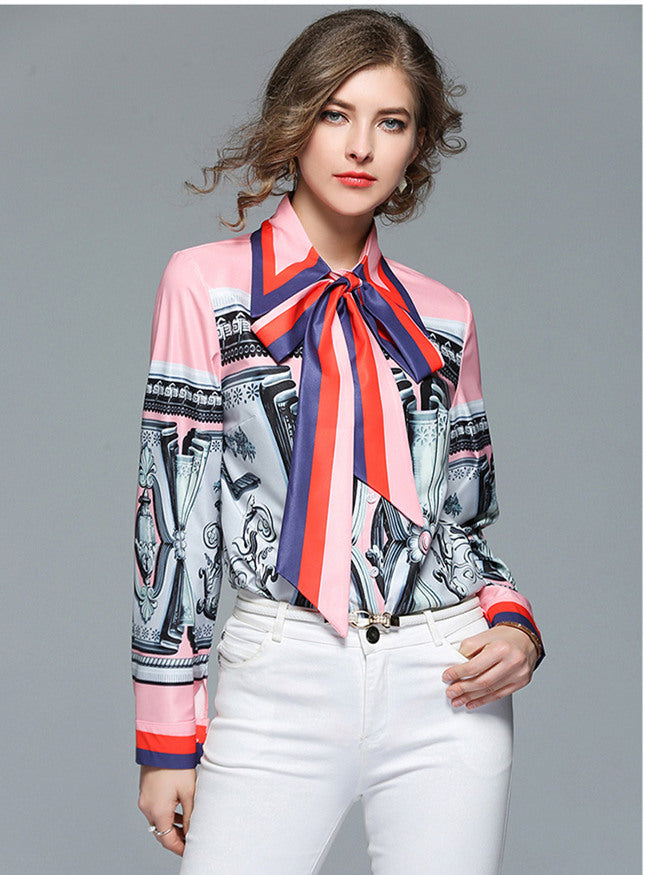 CM-TF010711 Women European Style Bowknot Collar Printings Loosen Blouse