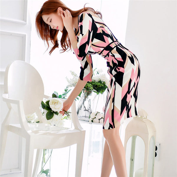 CM-DF012017 Women Elegant Seoul Style 3/4 Sleeve Round Neck Slim Dress