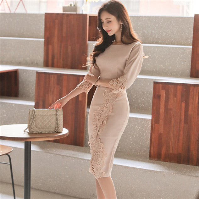 CM-DF012208 Women Charming Seoul Style Round Neck Lace Floral Bodycon Dress