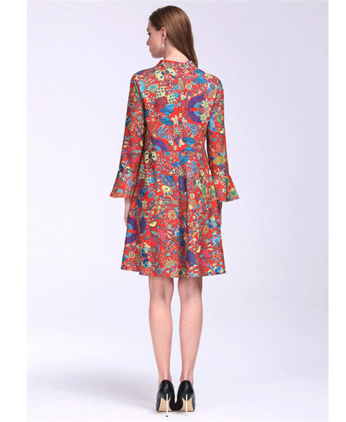 CM-DF012321 Women Casual European Style Flare Sleeve Floral Chiffon Dress