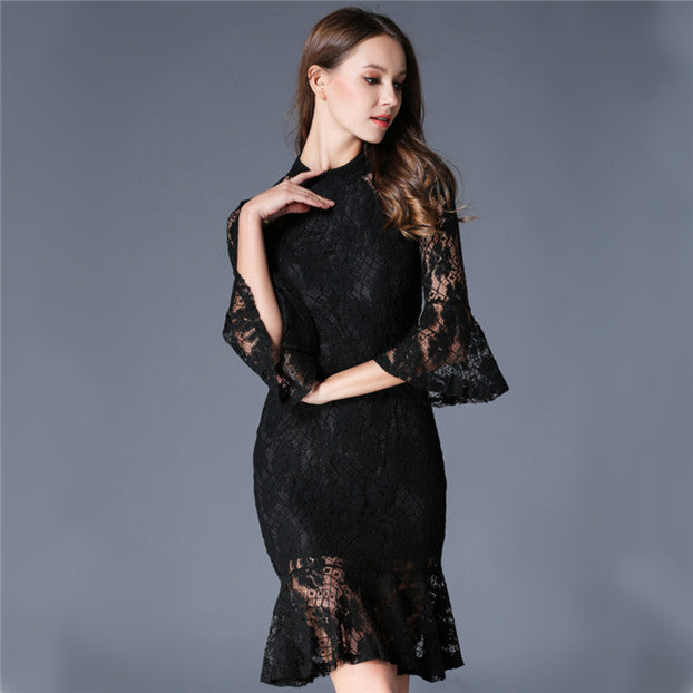 CM-DF020519 Women Elegant Seoul Style Fishtail Flare Sleeve Lace Slim Dress - Black