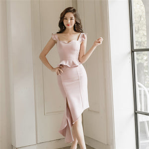 CM-DF030323 Women Elegant Sexy Low Bust Sloping Fishtail Bodycon Dress - Pink