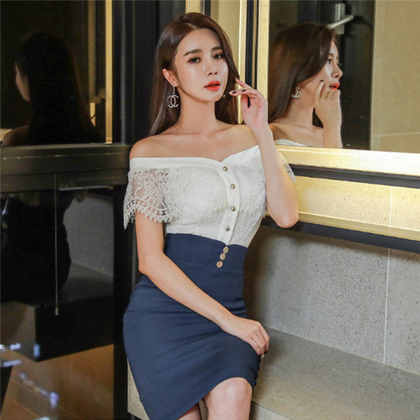 CM-SF030403 Women Stylish Boat Neck Lace Blouse With High Waist Skinny Skirt - Set
