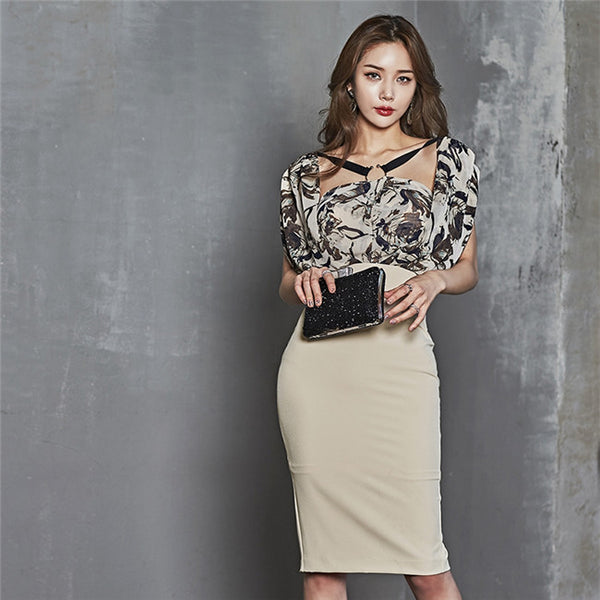 CM-DF030707 Women Elegant Square Collar Chiffon Splicing Slim Dress - Apricot