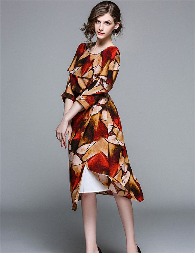 CM-DF030808 Women Trendy Seoul Style Tying Waist Batwing Floral Long Dress