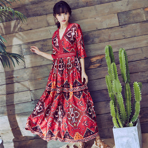 CM-DF030907 Women Bohemian Style Hollow Out V-Neck Floral Maxi Dress - Red