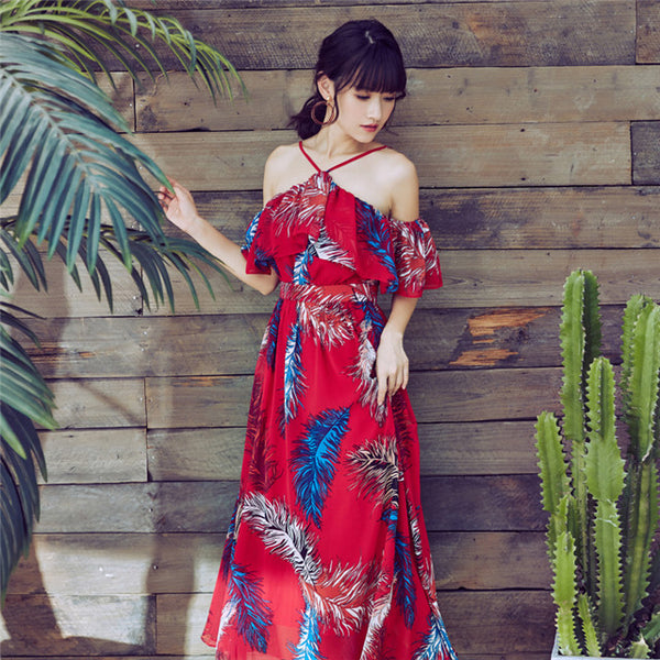 CM-DF030911 Women Casual Bohemian Style Flouncing Off Shoulder Floral Maxi Dress - Red