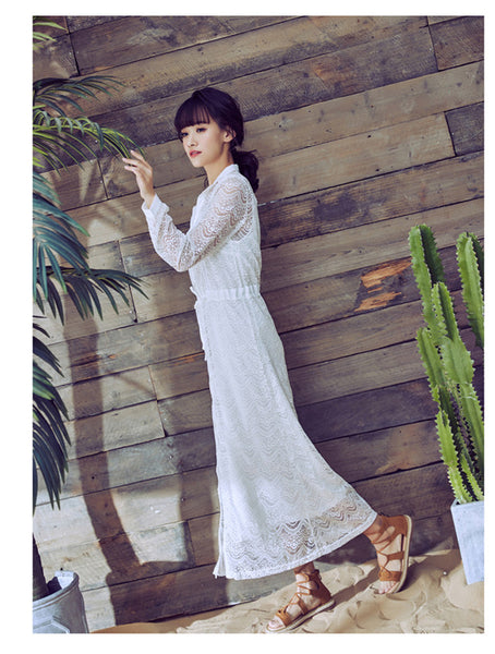 CM-DF031019 Women Seoul Style Lace Hollow Out Tie Waist Beach Dress - White