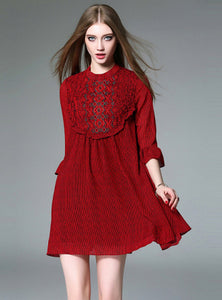 CM-DF031304 Women European Style Floral Embroidery Loosen Dress - Red