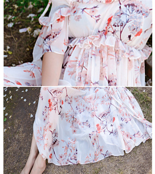 CM-DF031508 Women Elegant Bohemian Style Boat Neck Floral Chiffon Beach Dress