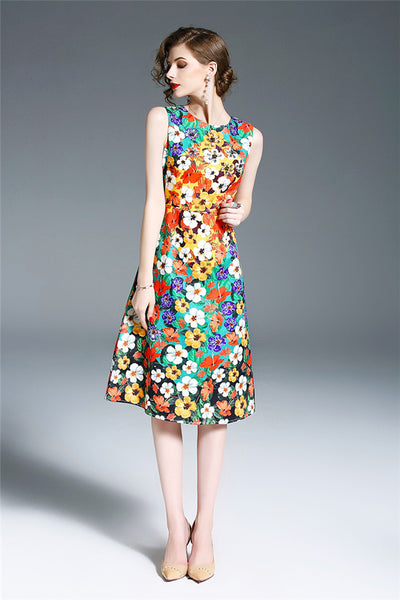 CM-DF031530 Women Summer Charming Jacquard Floral Sleeveless A-Line Dress