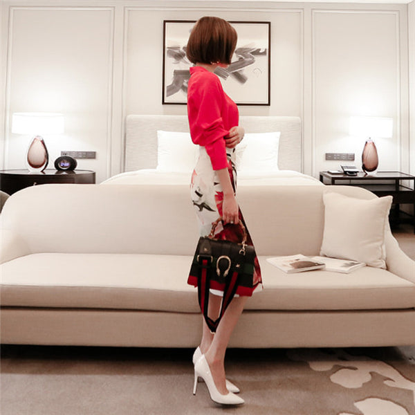 CM-SF032107 Women Seoul Style Tailored Collar Blouse With Floral Slim Skirt - Set