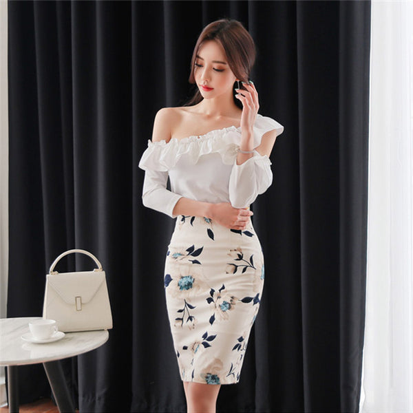 CM-SF032610 Women Seoul Style Off Shoulder Blouse With Floral Skinny Skirt - Set