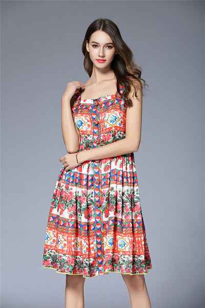 CM-EF032631 Women Charming Style Rhinestones Buttons Floral Straps Dress