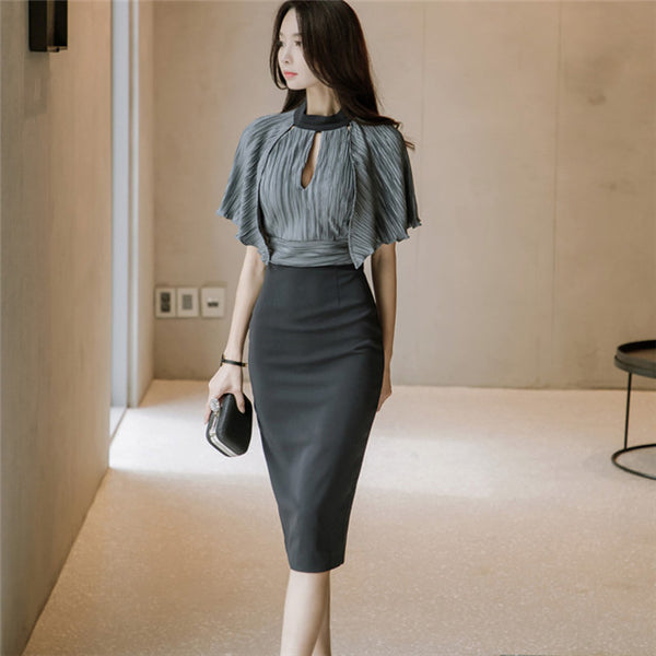 CM-DF032728 Women Elegant Pleated Flouncing High Waist Batwing Slim Dress - Black