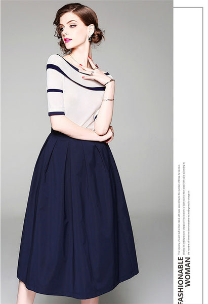 CM-SF040932 Women Casual Boat Neck Knitting T-Shirt With A-Line Skirt - Set