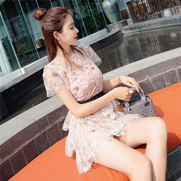 CM-EF041321 Women Lovely Summer Floral Embroidery Layered Gauze Dress
