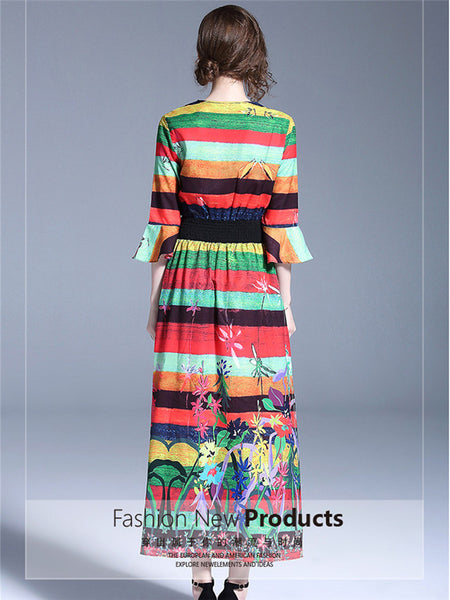 CM-DF041617 Women Casual European Style V-Neck Flare Sleeve Floral Maxi Dress