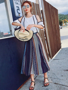 CM-SF041714 Women Seoul Style Off Shoulder Blouse with Stripes Wide-Leg Pants - Set
