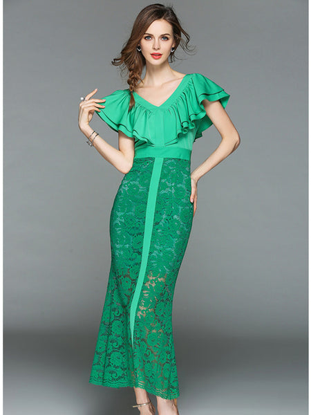 CM-DF042201 Women Elegant European Style Flouncing High Waist Lace Maxi Dress - Green