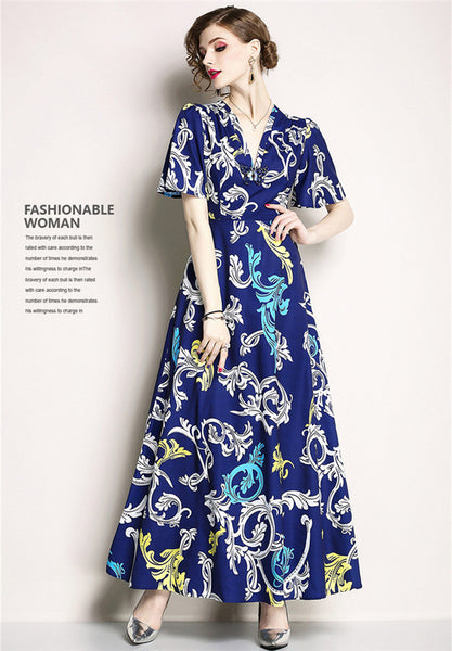 CM-DF042315 Women Retro Style High Waist Butterfly V-Neck Floral Maxi Dress - Blue