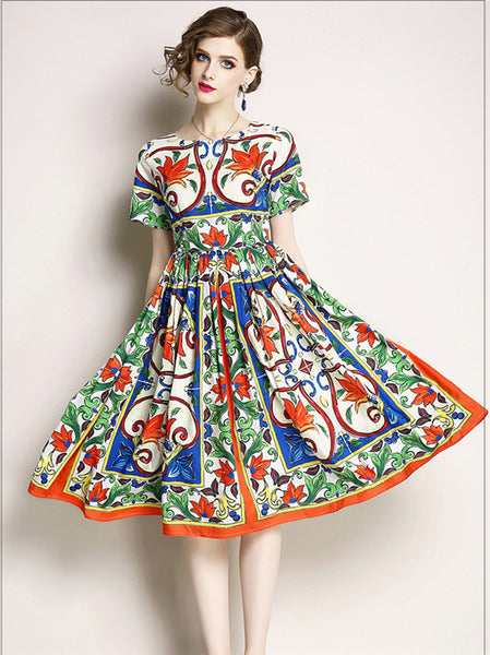 CM-DF042501 Women Casual European Style Round Neck Floral Pleated A-Line Dress