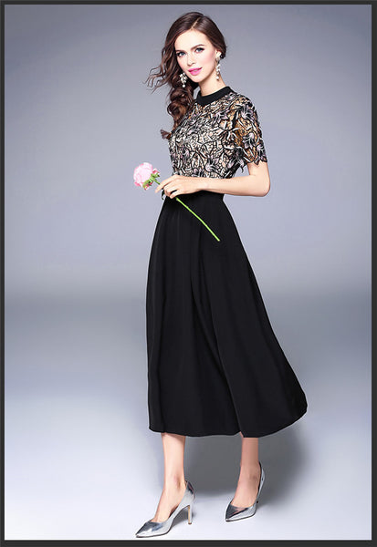 CM-DF042502 Women European Style Lace Embroidery Splicing High Waist Long Dress - Black