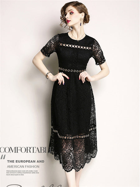 CM-DF042508 Women European Style Metal Rings Lace Floral Long Dress - Black