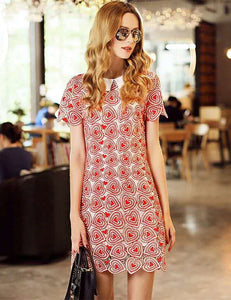 CM-DF050212 Women Elegant Doll Collar Hearts Hollow Out A-Line Dress - Pink