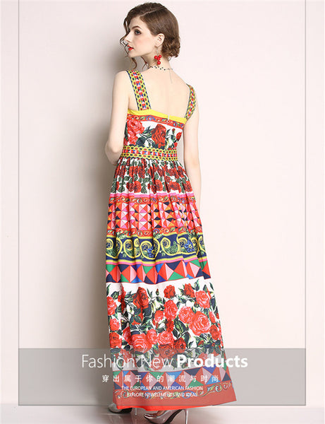 CM-DF050219 Women European Style High Waist Floral Printings Straps Long Dress