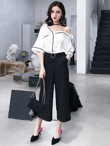 CM-SF051216 Women Casual Off Shoulder Blouse With Wide-Leg Cropped Pants - Set