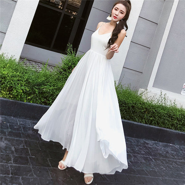 CM-DF051306 Women Elegant V-Neck High Waist Backless Chiffon Maxi Dress - White
