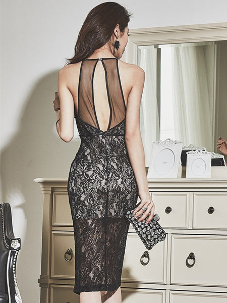 CM-DF051315 Women Elegant Retro Style Off Shoulder Backless Lace Bodycon Dress - Black