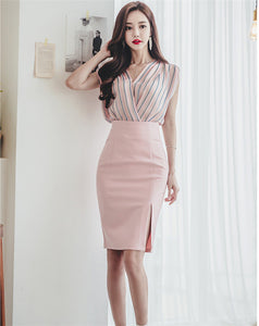 CM-SF051502 Women Elegant Stripes Chiffon Blouse With Hip-Packed Midi Skirt - Set