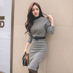 CM-D110926 Women Elegant Stand Collar Striped Bodycon Dress