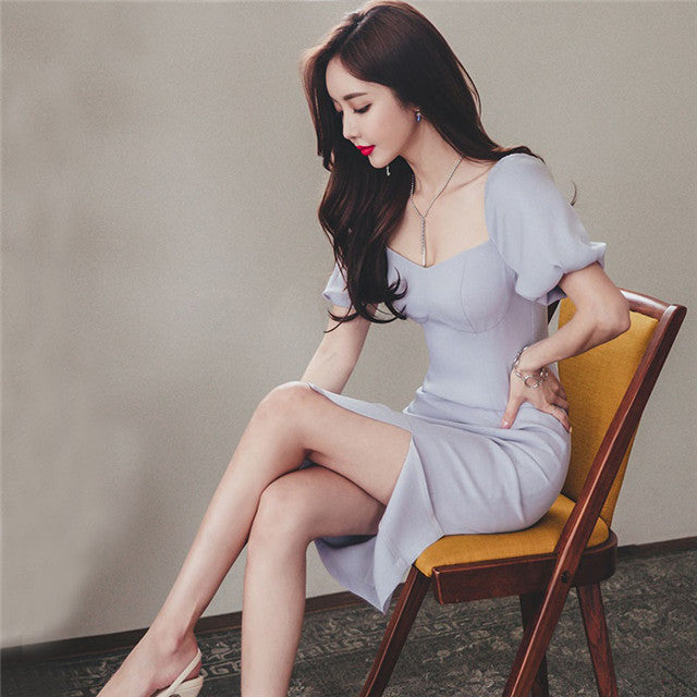 CM-DF051914 Women Elegant European Style Square Collar Puff Sleeve Bodycon Dress