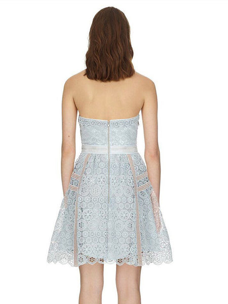 CM-EF060116 Women Charming High Waist Backless Lace Hollow Out Tank Dress