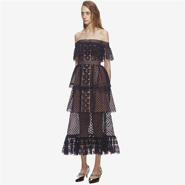 CM-EF060121 Women European Style Boat Neck Layered Lace Hollow Out Long Dress - Navy Blue