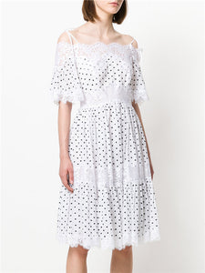 CM-EF060125 Women Elegant European Style Lace Boat Neck Mini Dots Puff Sleeve Dress
