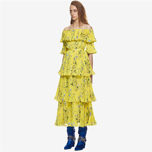CM-EF060129 Women European Style Boat Neck Floral Pleated Layered Maxi Dress - Yellow