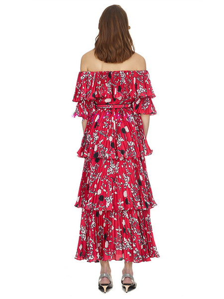 CM-EF060129 Women European Style Boat Neck Floral Pleated Layered Maxi Dress - Red