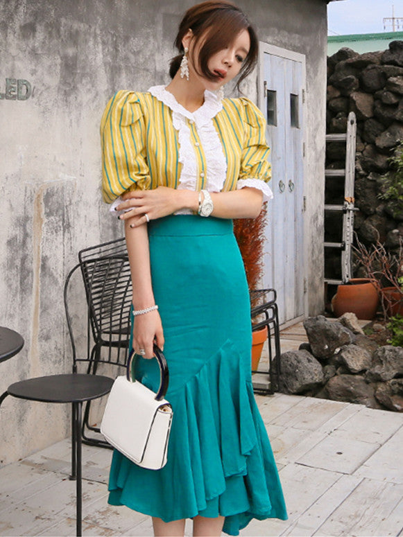 CM-SF060315 Women Casual Stripes Puff Sleeve Blouse With Fishtail Long Skirt - Set