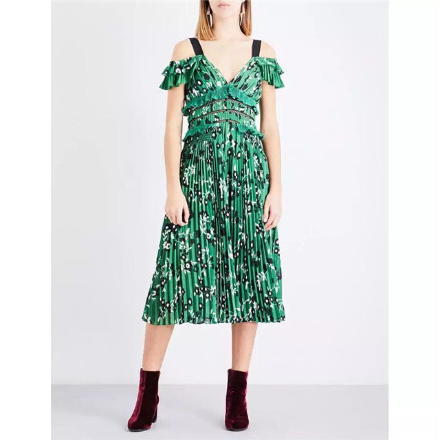CM-EF060718 Women European Style V-Neck High Waist Floral Pleated Straps Dress - Green
