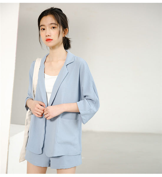 CM-SF061501 Women Casual Preppy Blue Tailored Collar Loosen Short Leisure Suits - Set