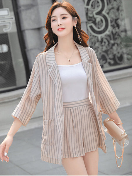 CM-SF061505 Women Casual Seoul Style Apricot Stripes Cardigan Coat With Short Pants - Set