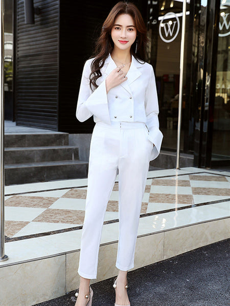 CM-SF061506 Women Elegant White Double-Breasted High Waist Leisure Suits - Set