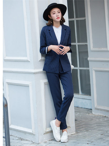 CM-SF061508 Women Casual Seoul Style Blue Tailored Collar Stripes Leisure Suits - Set