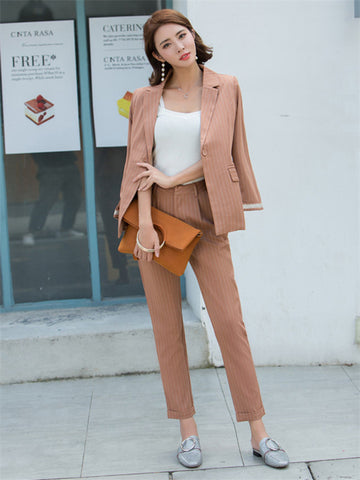 CM-SF061508 Women Casual Seoul Style Camel Tailored Collar Stripes Leisure Suits - Set