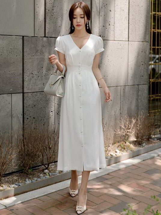 CM-DF062420 Women Casual Seoul Style Single-Breasted V-Neck Long Dress - White