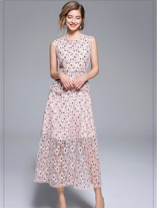CM-DF062518 Women Casual Summer Mini Floral Flouncing Lace Maxi Dress - Pink